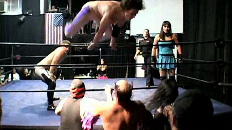 Cheerleader Melissa, Dylan Drake & Scotty Aboot vs. Masked Assassin #1, Nathan Rulez & Jeckles the Jester