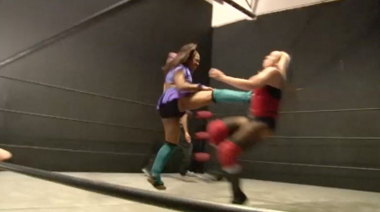 Samantha Heights & Amazing Maria vs. Raegan Fire & Aja Perera