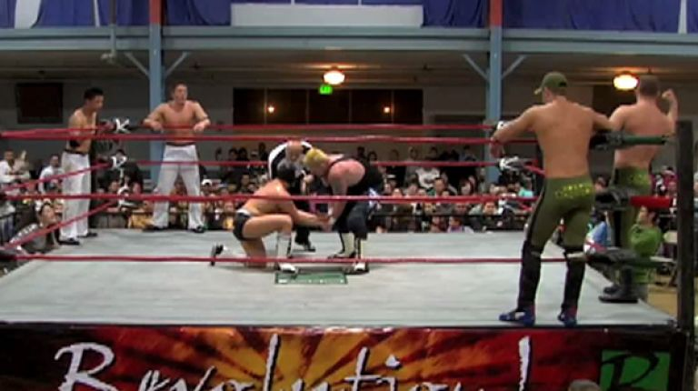 Polyester Express & Mr. Wrestling IV vs. Border Patrol & Rik Luxury