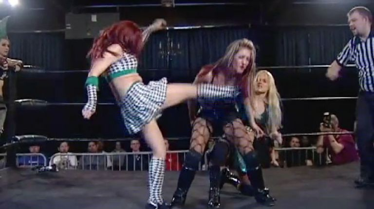 Christina Von Eerie, Shazza McKenzie & Veda Scott vs. Allysin Kay, Taylor Made & Saraya Knight