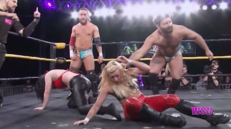 Annie Social & Kimber Lee vs. David Starr & JT Dunn