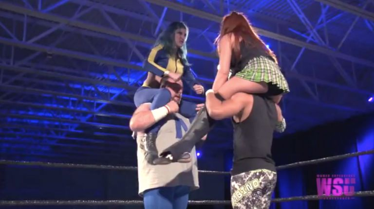 Leva Bates & Greg Excellent vs. Veda Scott & Jason Cade